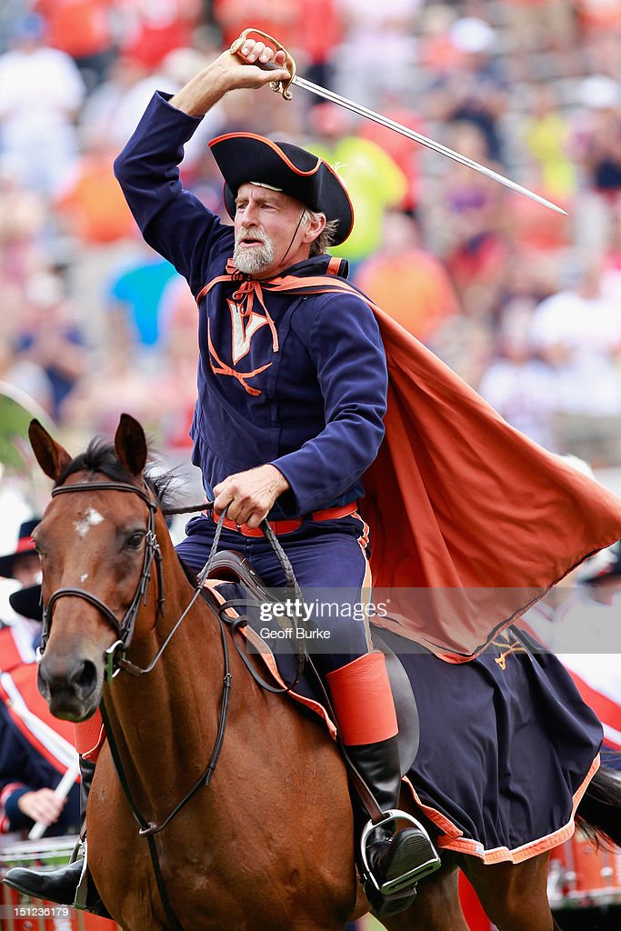 The Virginia Cavalier rides onto the field prior to the Cavaliers' game against the Richmond Spiders at Scott Stadium on September 1, 2012 in Charlottesville, Virginia.