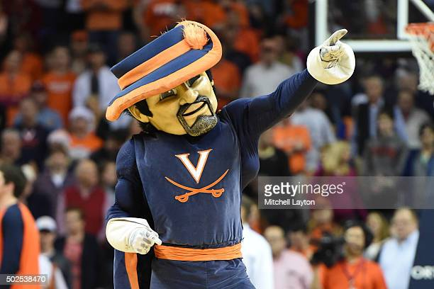 The Virginia Cavaliers mascot on floor during a college basketball game against the California Golden Bears at John Paul Jones Arena on December 22...