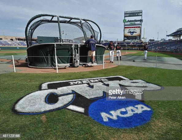 The Virginia Cavaliers take batting practice before game one of the College World Series Championship against the Vanderbilt Commodores on June 23...