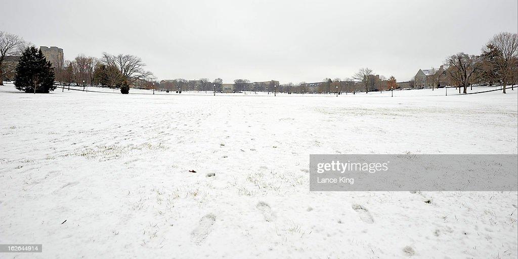 The Virginia Tech Drillfield is seen on February 22, 2013 in Blacksburg, Virginia.