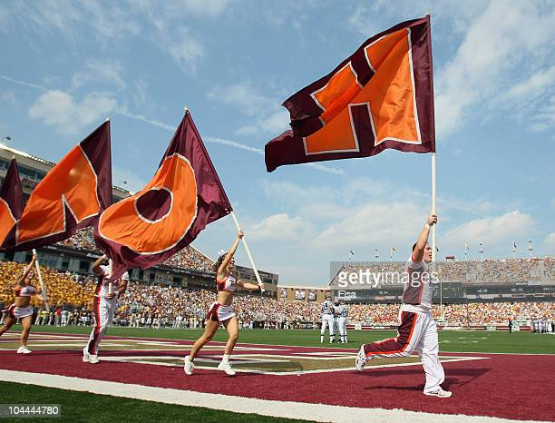The Virginia Tech Hokies cheer squad celebrate a touchdown in the first half against the Boston Collge Eagles on September 25 2010 at Alumni Stadium...