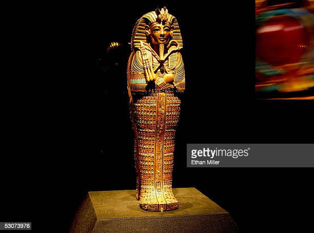 The Viscera Coffin of Tutankhamun is on display during the 'Tutankhamun And The Golden Age Of The Pharaohs' exhibit opening at the Los Angeles County...