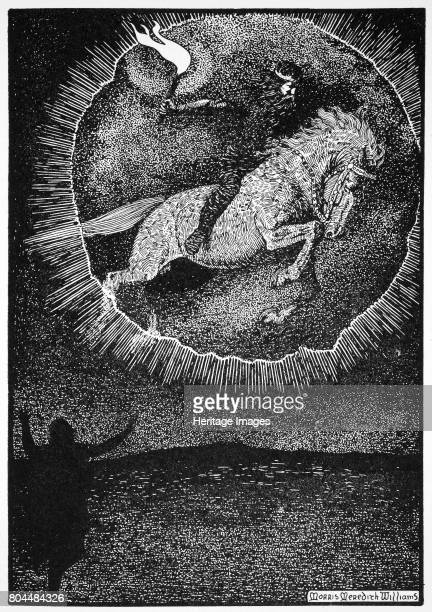The Vision of the Man on the Grey horse' 1913 A Christian man sees the vision of Odin leaping through a ring of fire on a grey horse Illustration...
