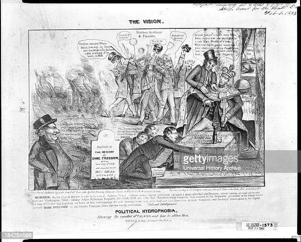 The vision Political hydrophobia shewing the comfort of crowns and how to obtain them by Ezra Bizbee 1834 Lithograph print on wove paper A political...