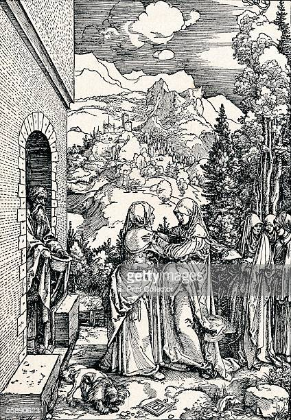 'The Visitation' 1506 A scene from the Life of the Virgin From Durer Des Meisters Gemalde Kupferstiche und Holzschnitte in 471 Abbildungen [Stuttgart...