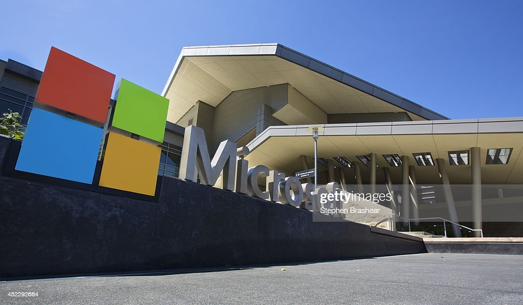 The Visitor's Center at Microsoft Headquarters campus is pictured July 17 2014 in Redmond Washington Microsoft CEO Satya Nadella announced July 17...