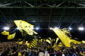 The Vitesse fans show their support during the Dutch Eredivisie match between Vitesse Arnhem and AZ Alkmaar held at Gelredome on March 13 2015 in...