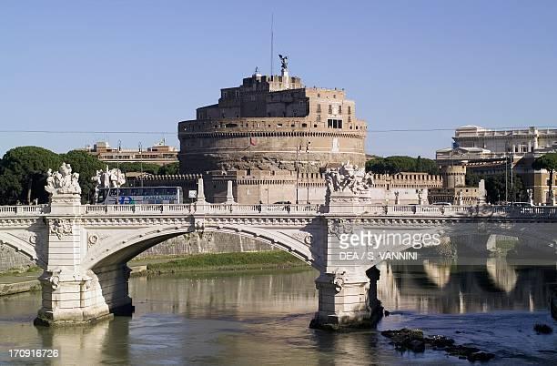 The Vittorio bridge over the Tiber with Castel Sant'Angelo in the background Rome Lazio Italy