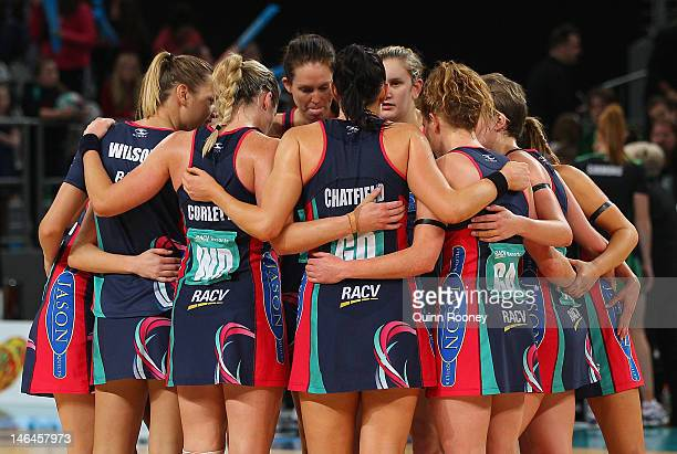 The Vixens huddle together during the round 12 ANZ Championship match between the Melbourne Vixens and the West Coast Fever at Hisense Arena on June...