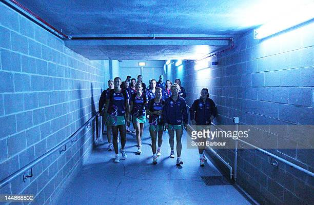 The Vixens walk down the tunnel as they make their way to the court before the round eight ANZ Championship match between the Melbourne Vixens and...