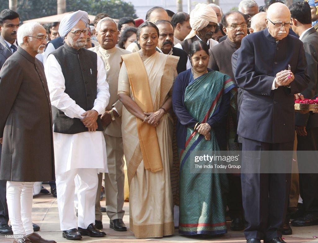 Vice President Hamid Ansari, Prime Minister Manmohan Singh, Lok Sabha Speaker Meira Kumar, Leader of Opposition in the Lok Sabha an the Rajya Sabha, Sushma Swaraj and BJP leader L K Advani paid homage to the martyrs of the Parliament attack, in New Delhi on December 13, 2012.