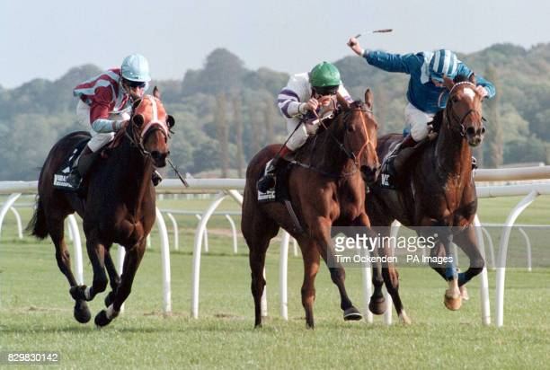 The Vodafone Group Handicap Stakes at Newbury Race Course won by En Vacances ridden by T Sprake 2nd Istabraq ridden by W Carson and 3rd Purple Splash...