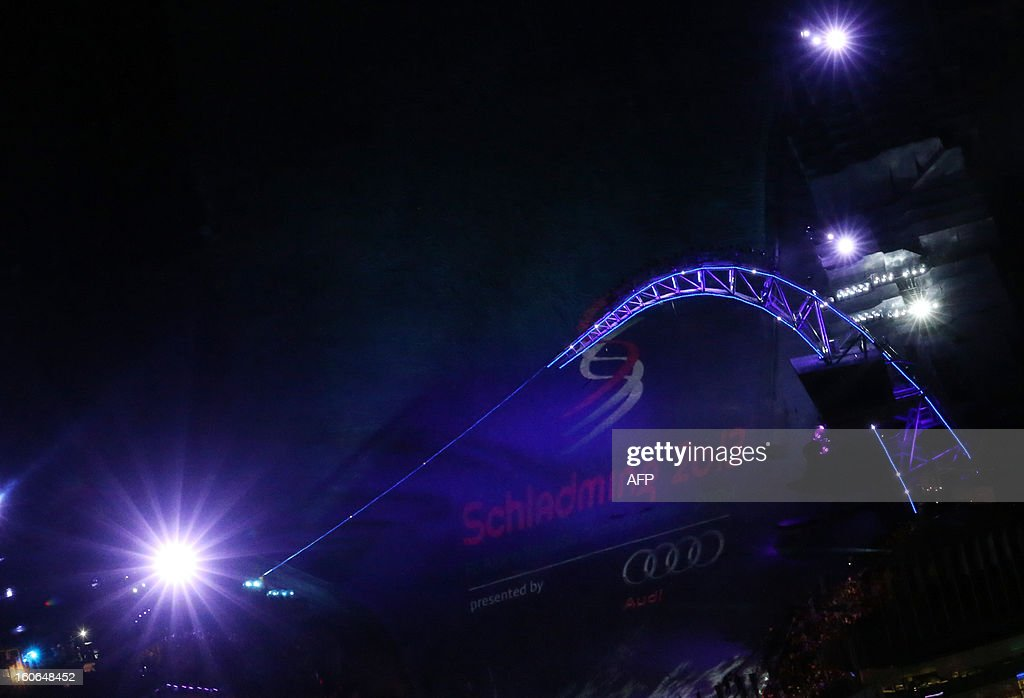 The Voestalpine Skygate structure is seen during the opening ceremony of the FIS World Ski Championships on February 4, 2013 in Schladming.