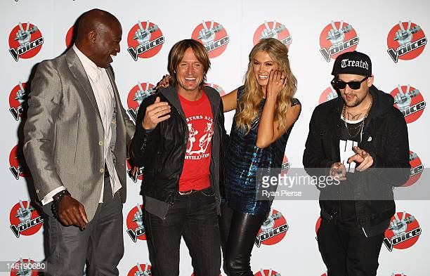 The Voice judges Seal Keith Urban Delta Goodrem and Joel Madden pose during The Voice Final Four Press Conference at Hordern Pavilion on June 12 2012...