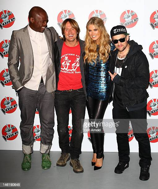 The Voice judges Seal Keith Urban Delta Goodrem and Joel Madden attend The Voice Final Four Press Conference on June 12 2012 in Sydney Australia