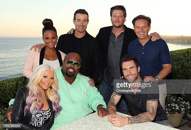 The Voice's Christina Aguilera Christina Milian Cee Lo Green Carson Daly Blake Shelton Adam Levine and Executive producer Mark Burnett attend the...