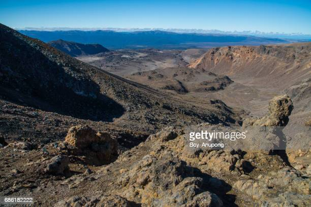 The volcanic landscape of Tongariro national park, New Zealand.