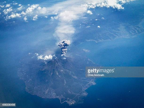 The volcano on Mt Sakurajima erupts September 29 2014 in the air over Mt Sakurajima Japan T