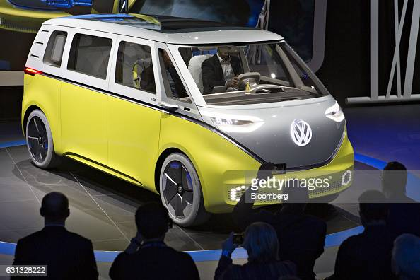 The Volkswagen AG ID Buzz concept vehicle is displayed during the 2017 North American International Auto Show in Detroit Michigan US on Monday Jan 9...
