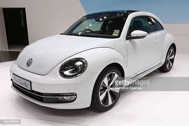 The Volkswagen Beetle Australian premiere during the Australian International Motor Show media preview at the Sydney Convention Exhibition Centre on...