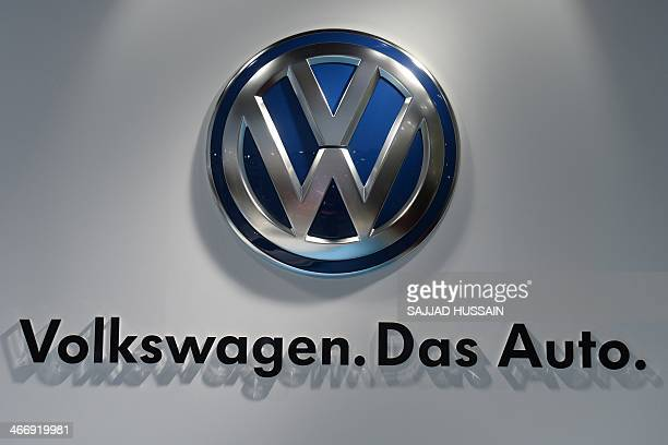 The Volkswagen carmaker logo is pictured at the 12th Auto Expo in Greater Noida on the outskirts of New Delhi on February 5 2014 AFP PHOTO/ SAJJAD...