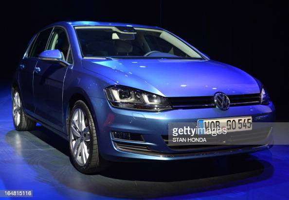 The Volkswagen Golf winner of the 2013 World Car of the Year Award is seenduring the second press preview day at the New York International...