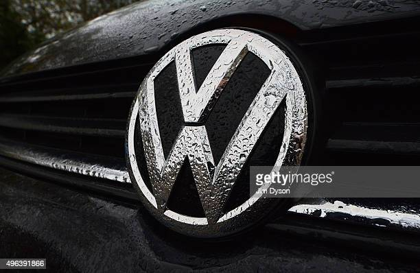 The Volkswagen logo is pictured on a Polo model car on November 9 2015 in London England Scandinavian Asset Management company Nordea has announced...