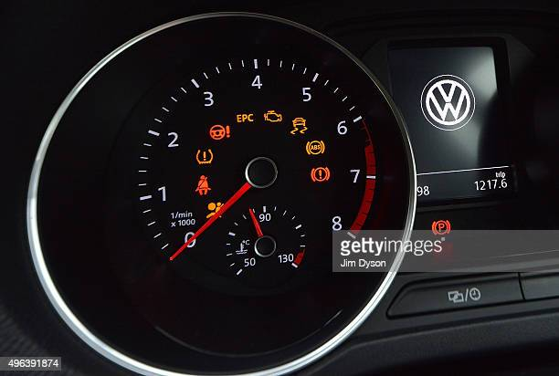 The Volkswagen logo is pictured on the dashboard of a Polo model car on November 9 2015 in London England Scandinavian Asset Management company...