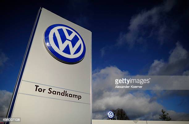 The Volkswagen logo is seen at the main entrance gate of the Volkswagen group on November 20 2015 in Wolfsburg Germany Highranking Volkswagen...
