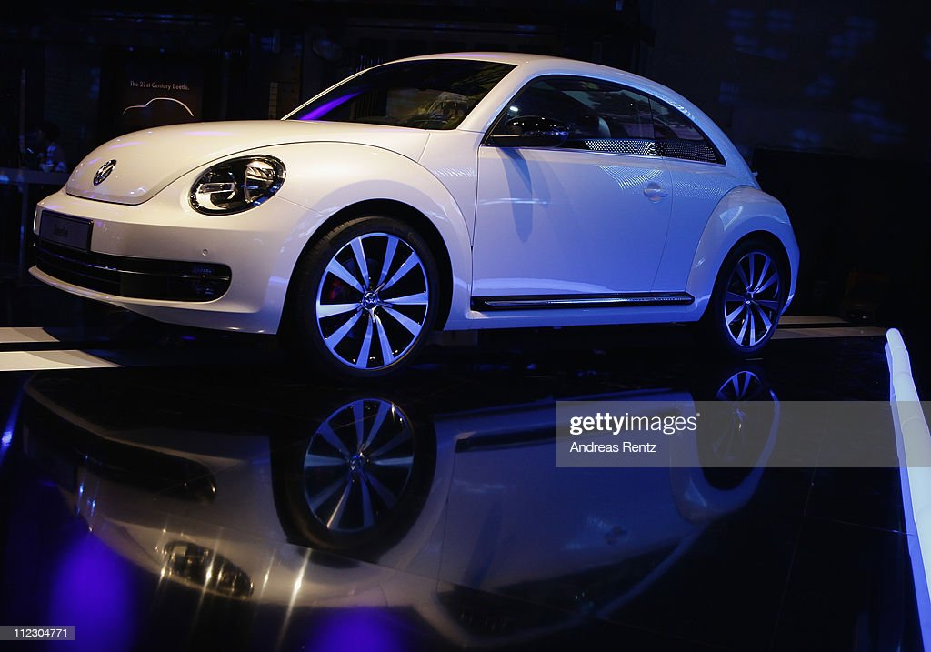 The Volkswagen New Beetle sits on display during the world premiere of the 21st Century Beetle at ewerk on April 18, 2011 in Berlin, Germany. The car will be available for sale in Germany in October 2011.