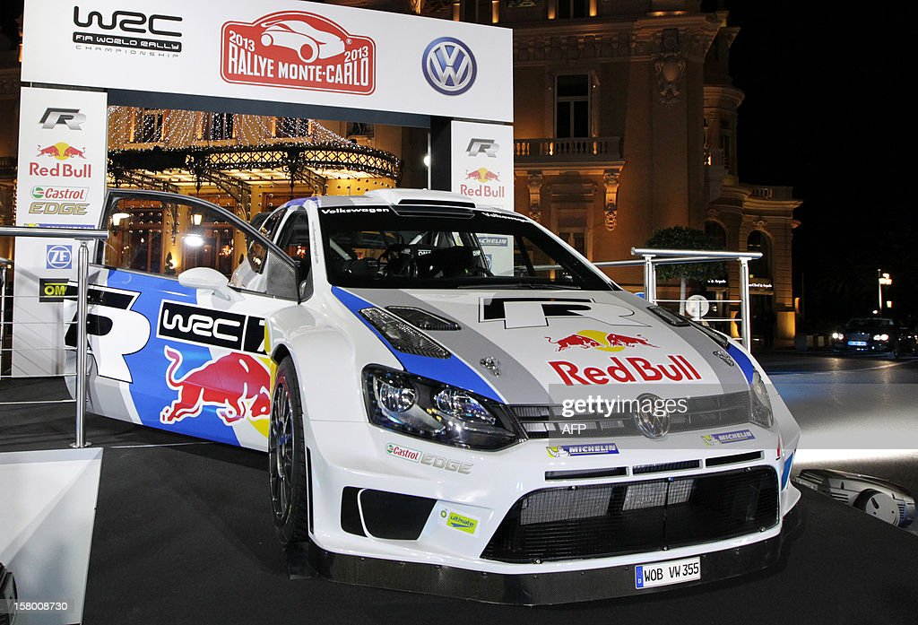 The Volkswagen Polo-R of French rallye driver Sebastien Ogier is presented to the press, on December 8, 2012, in Monaco. Sebastien Ogier of France and Jari-Matti Lavala of Finland will start the WRC Championship with their Volkswagen Polo-R at the Monte Carlo rallye in Monaco, from January 17 to 20, 2013.