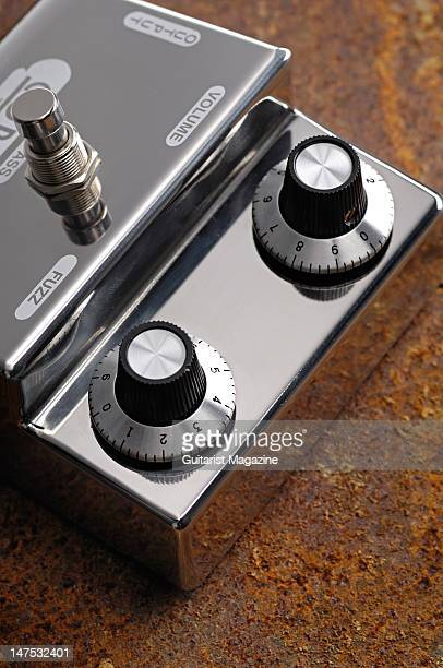 The volume and fuzz controls of a Denis Cornell The 1st Fuzz electric guitar effects pedal during a studio shoot for Guitarist Magazine October 20...