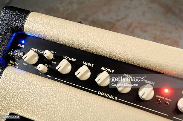 The volume and tone controls of an Egnater Rebel 30 1x12 combo electric guitar amplifier during a studio shoot for Guitarist Magazine March 2 2010
