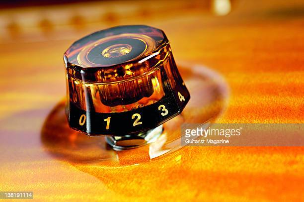 The volume control knob of a PRS Studio electric guitar During a studio shoot for Guitarist Magazine March 4 2011