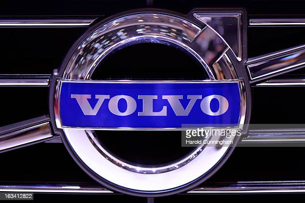 The Volvo logo is seen during the 83rd Geneva Motor Show on March 6 2013 in Geneva Switzerland Held annually with more than 130 product premiers from...