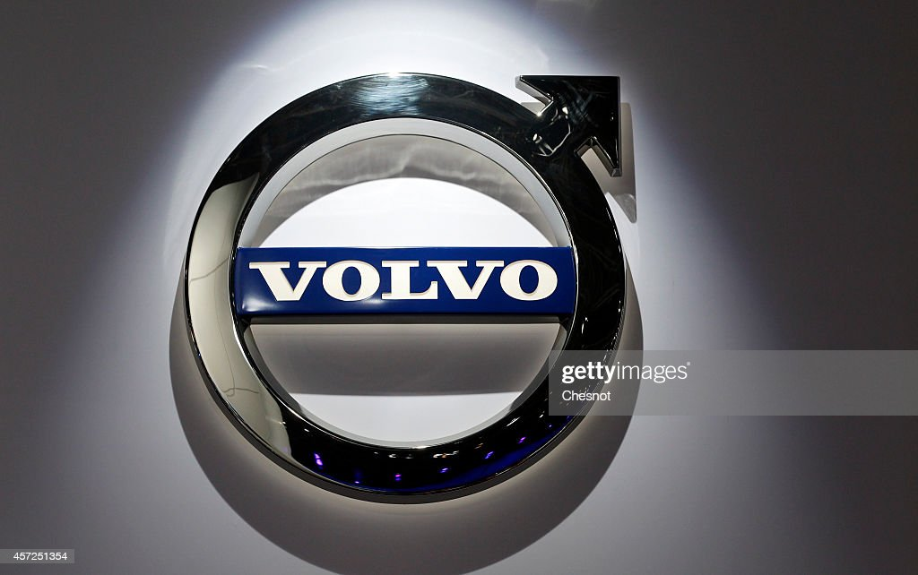 The Volvo logo is seen during the Paris Motor Show on October 14 in Paris France More than a million visitors are expected at the 'Mondial de...