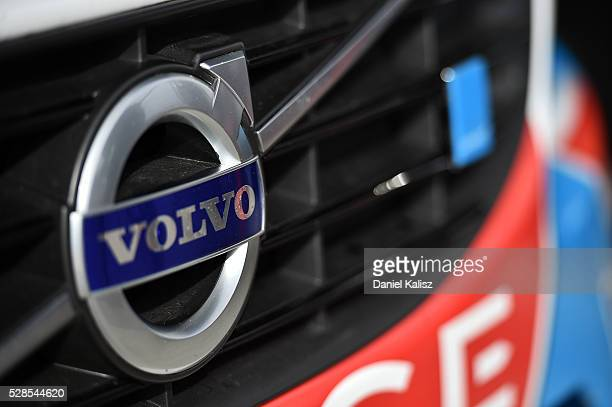 The Volvo logo pictured during practice for the V8 Supercars Perth SuperSprint at Barbagallo Raceway on May 6 2016 in Perth Australia