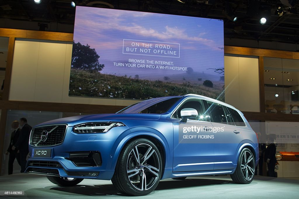 The Volvo XC90 sits on display before Volvo's press conference at the 2015 North American International Auto Show in Detroit Michigan January 12 2015...
