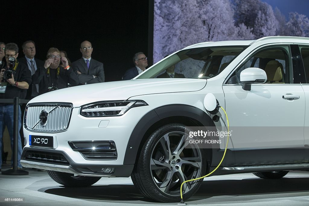 The Volvo XC90 T8 plugin hybrid sits on display during Volvo's press conference at the 2015 North American International Auto Show in Detroit...