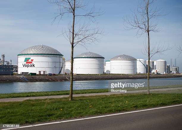 The Vopak logo sits on an oil storage silo at the Gate liquid natural gas terminal operated by Royal Vopak NV in Rotterdam Netherlands on Wednesday...