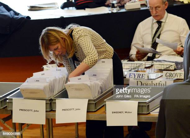The vote count for the Police and Crime Commissioner in the Humberside Police Area with boxes of votes for John Prescott in Bridlington Spa today...