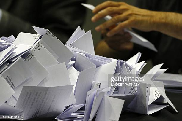 The vote count gets under way at the Manchester Central Convention Complex where the EU referendum vote count is taking place in Manchester north...