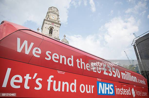 The Vote Leave battle bus stops in Portsmouth on May 13 2016 in Portsmouth England Portsmouth City Council members voted in March in favour of a...