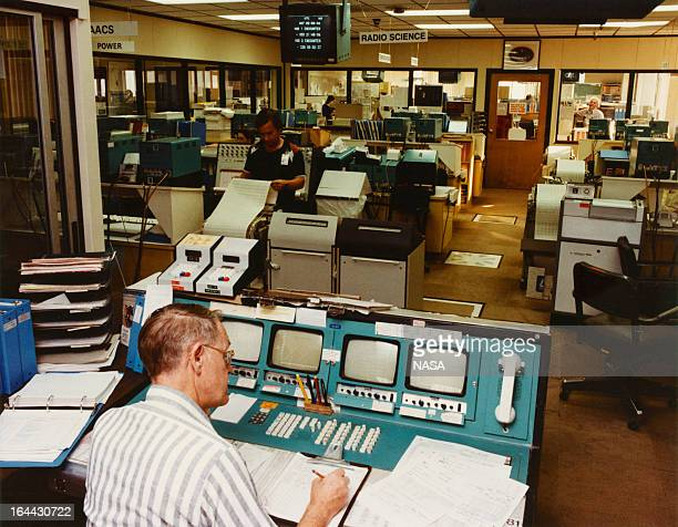 The Voyager control center at Jet Propulsion Laboratory at the California Institute of Technology Pasadena California 1980 Voyager 1 and its...