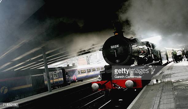 The VSOE owned Northern Belle steam train waits to depart from Paddington Station to Bristol in support of the late Sir John Betjemans centenary...