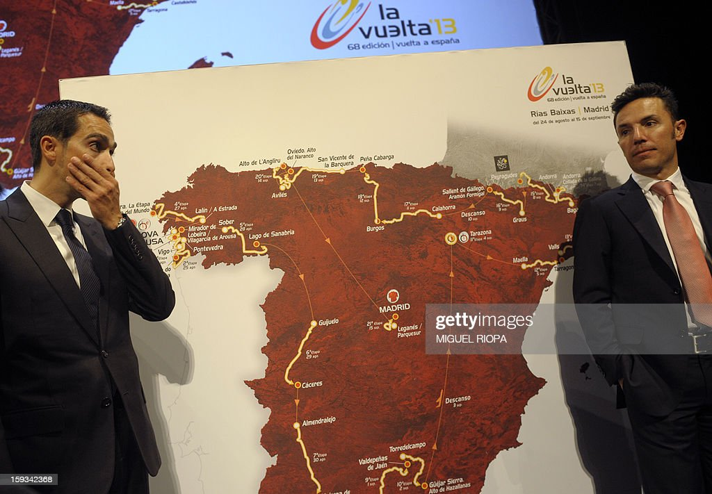 The Vuelta 2012's winner, Spanish cyclist Alberto Contador (L) and Spanish cyclist Joaquin 'Purito' Rodriguez pose next to the roadmap of the Vuelta 2013 during the presentation of the 68th Vuelta cycling tour of Spain in Vigo, on January 13, 2013.