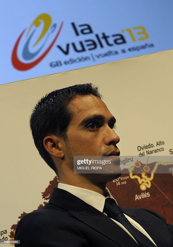 The Vuelta 2012's winner, Spanish cyclist Alberto Contador looks on during the presentation of the 68th Vuelta cycling tour of Spain in Vigo, on January 13, 2013.