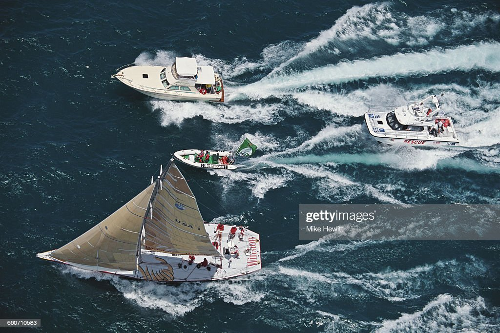 The W60 racing yacht Winston from the United States sails into Freemantle to complete the second leg of the Whitbread Round the World Yacht Race on...
