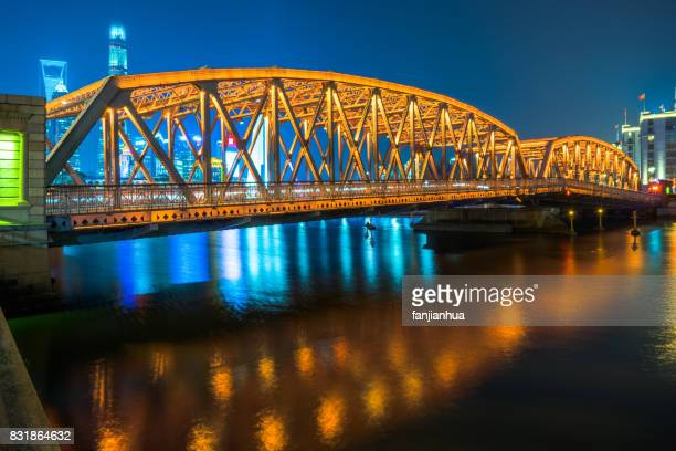 the Waibaidu bridge at night in Shanghai