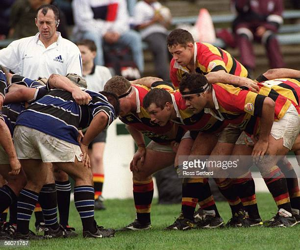 The Waikato front row Paul Martin left Guy Coleman and Deacon Manu against Wanganui in the Ranfurly Shield Challenge at the Tokoroa Memorial Park...